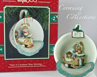 Enesco Cozy Cup Not a Creature was Stirring Mice Treasury of Christmas Ornament Nursery Baby 7th in Series Tea M. Gilmore Designs
