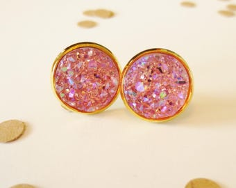 Pink Druzy Stud Earring, Pink and Silver, Gold Earring, Nickle Free, Nickle Free Stud, Stud Earrings, Druzy Earrings, Pink and Gold