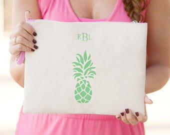 Monogrammed Zip Pouch,pineapple pouch,starfish pouch,anchor pouch,mothers day gift, graduation gift,Preppy zip pouch,monogrammed zip tote