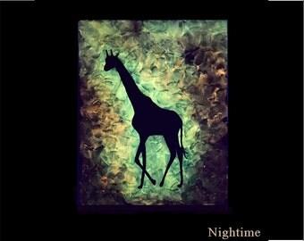 Glow Landscape silhouette Giraffe Painting Glowing artwork Zoo animals