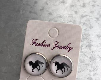 Earrings, 12 mm cabochon, Unicorn, black, white, evy necklaces, handmade, hypoallergenic
