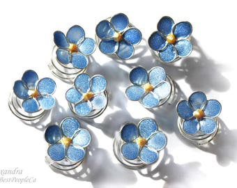 Handmade Hair spiral twists pins swirls, set of 9 Blue Forget-me-not flowers.