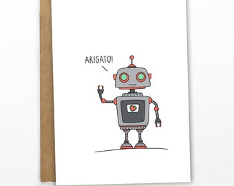 Thank You Card | Arigato Mr Roboto! by Cypress Card Co.