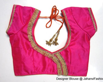 Designer Dupioni saree blouse with golden lace on neck, fine golden zari piping on sleeves, avail in all sizes and colors,