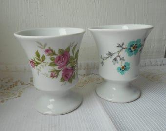 stunning vintage French Limoges decorative porcelain cups set of 2