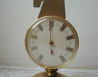 vintage French decorative brass / metal free standing thermometer