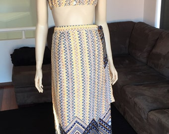 Stunning  Vintage  Rare  Two Piece Crop Top and Maxi Wrap Skirt Aztec 60s/70s