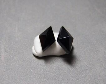 16x12mm Diamond Pyramid Black Onyx Gemstone Post Earrings with Sterling Silver