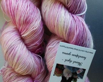 Handdyed yarn singles merino Siamese cat base pale pink