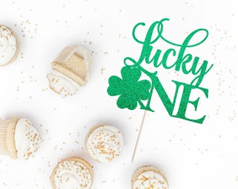 Lucky One Cake Topper - St. Patrick's Themed First Birthday - Smash Cake Decor - Smash Cake Topper - Four Lead Clover Birthday Topper