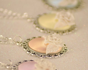 Winter magic polymer clay rose cabochon necklace - 4 colors