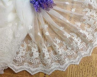 Off White Floral Lace Trim Venice Embroidered Tulle Lace Trim 12.2 Inches Wide 2 Yards X0166
