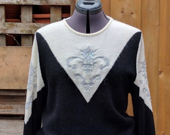 Vintage 1980's Black, White and Silver MARELLA sweater Designer Abstract Pattern Sweater