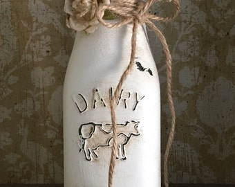 Dusty white milk bottle - home decor