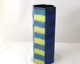 Tall Ceramic Vase: Blue & Green Stripes