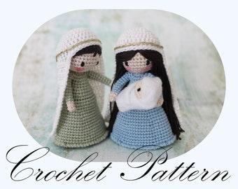 PATTERN: Crochet Nativity, Crochet Amigurumi, Waldorf Inspired, Holly Family (English Only)