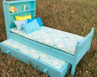 "Bookcase Bed and Trundle with Bedding for 18"" Doll"