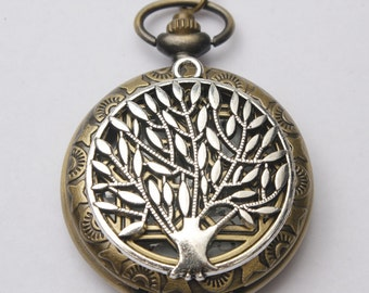 Ancient Silver Tree of Life Pocket Watch Necklace Charm Necklace with Chain Jewelry