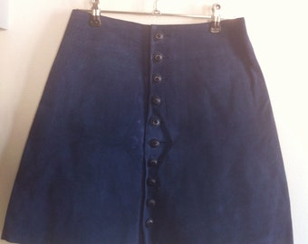 navy suede leather mini skirt a line buttoned front / small