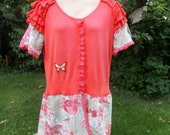 Plus Size Upcycled Cardigan Sweater Dress Flame Tree UK size 18  20  US size 14  16  Coral Red Short Ruffle Sleeve Butterfly Flower