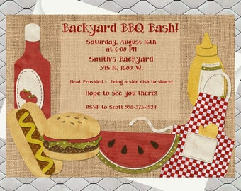 Summer backyard BBQ / Block Party /End of Summer Party/ Invitation / Printable Invite / Neighborhood party / BBQ / Digital Download