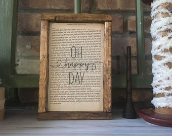 "Book Page Art with ""Oh Happy Day"" 