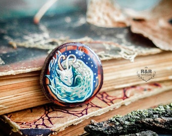 "Wooden pendant with handmade painting ""Sleeping forest spirit"""