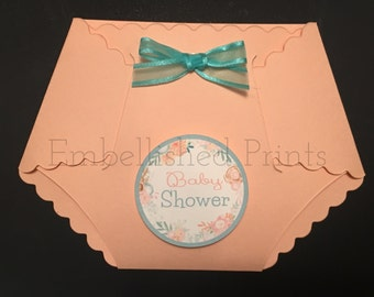 Die-Cut Diaper peach, mint and gold floral themed invitation