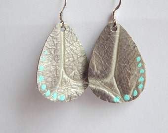 Silver Leather Drop Painted Festival Earrings Ready to ship