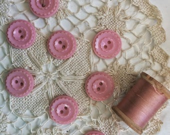 Vintage Pink Plastic Buttons Set...Sewing. Matching. Old. Seamstress. Button. Lot. Vintage. Sewing