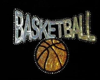 Basketball with BALL - Sequin and Rhinestone - Iron on Transfer - J8414