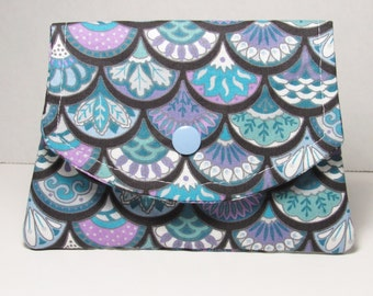 Womens Fabric Pocket Wallet, Small Fabric Womens Cash Wallet, Blue Purple Credit Card Holder, Gift For Her Under 20