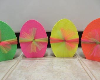 Easter Decor-4 FLUORESCENT-NEON Glitter Wooden Easter Eggs-Easter Egg Decor-Spring Decor