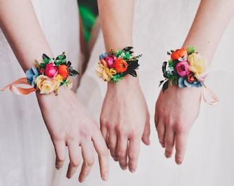 Colorful flower bracelet Summer wedding bracelet  Floral bracelet Bracelet on satin ribbon Bracelet for bride Bracelet for bridesmaid