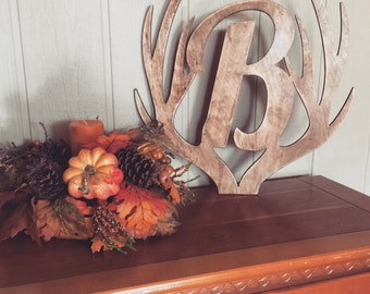 """22"""" Distressed Wooden Antler Monogram, Rustic Monogram, Hunter Decor - You Pick The Stain Color or Paint Color"""