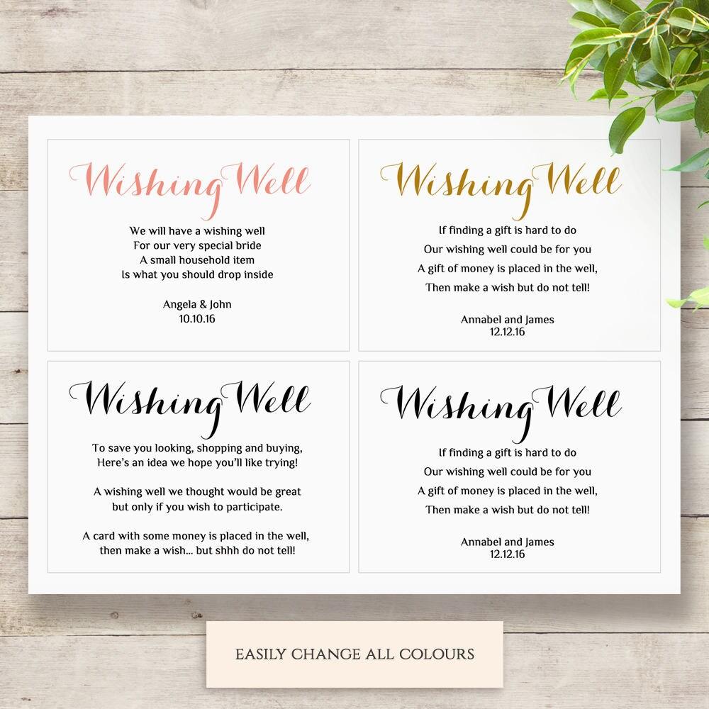 Printable Wedding Wishing Well Card