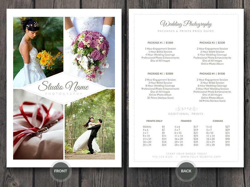 How To Advertise Your Wedding Photography Business: Wedding Photographer Pricing Guide / Price Sheet List 5x7 V2