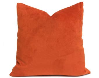 "Orange Velvet Pillow Cover, Fits 12x18 12x24 14x20 16x26 16"" 18"" 20"" 22"" 24"" Cushion Inserts"