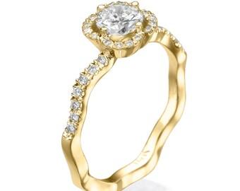 Engagement ring, Promise ring, 14K yellow gold ring, Statement ring, Flower ring, Unique Engagement ring, Floral ring, Diamond ring,  Rings