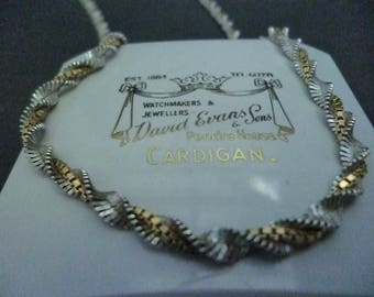 A superb vintage silver and gold shimmery necklace - 925 - sterling silver - 18""