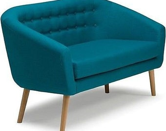 2 Seater Retro Deep Seat Cushion Sofa in Teal | Fabric/Wooden Legs. Mid century Modern loveseat. Retro sofa. FREE UK delivery.