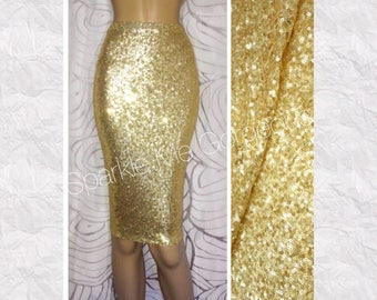 Sequin Pencil Skirt - Shiny Gold