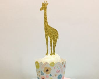 12ct Giraffe cupcake topper, Zoo cupckar topper, Animal cupcake toppers, Safari cupcake toppers
