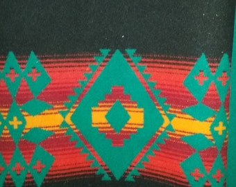Pendleton (R) Heavyweight Wool Fabric - Turquoise/Black, Southwest Patterned, Reversible 2 Yards 60 Per Yard