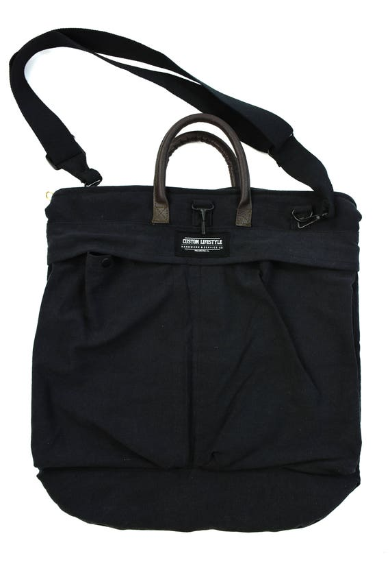 ash black canvas helmet bag