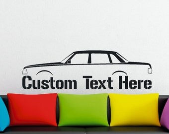 Large Custom car silhouette wall sticker - for Volvo 240, 244 classic 4-door sedan enthusiasts