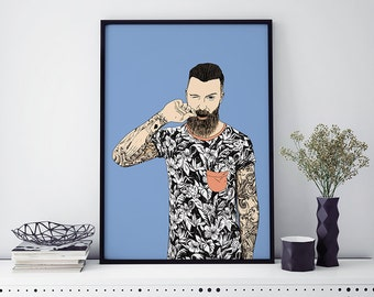 Poster illustration tattooed man - A4 - A3