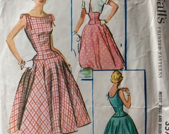 McCall's 3570 misses dress & bolero size 10 bust 28.5 bust 28 1/2 vintage 1950's sewing pattern