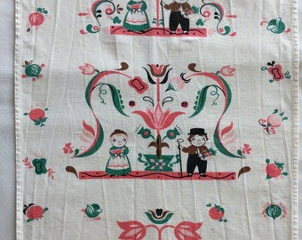 Campbell Kids folk art vintage tea towel possibly made by Leacock Quality Hand Prints