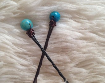 Turquoise Wire Wrapped Hair Pins